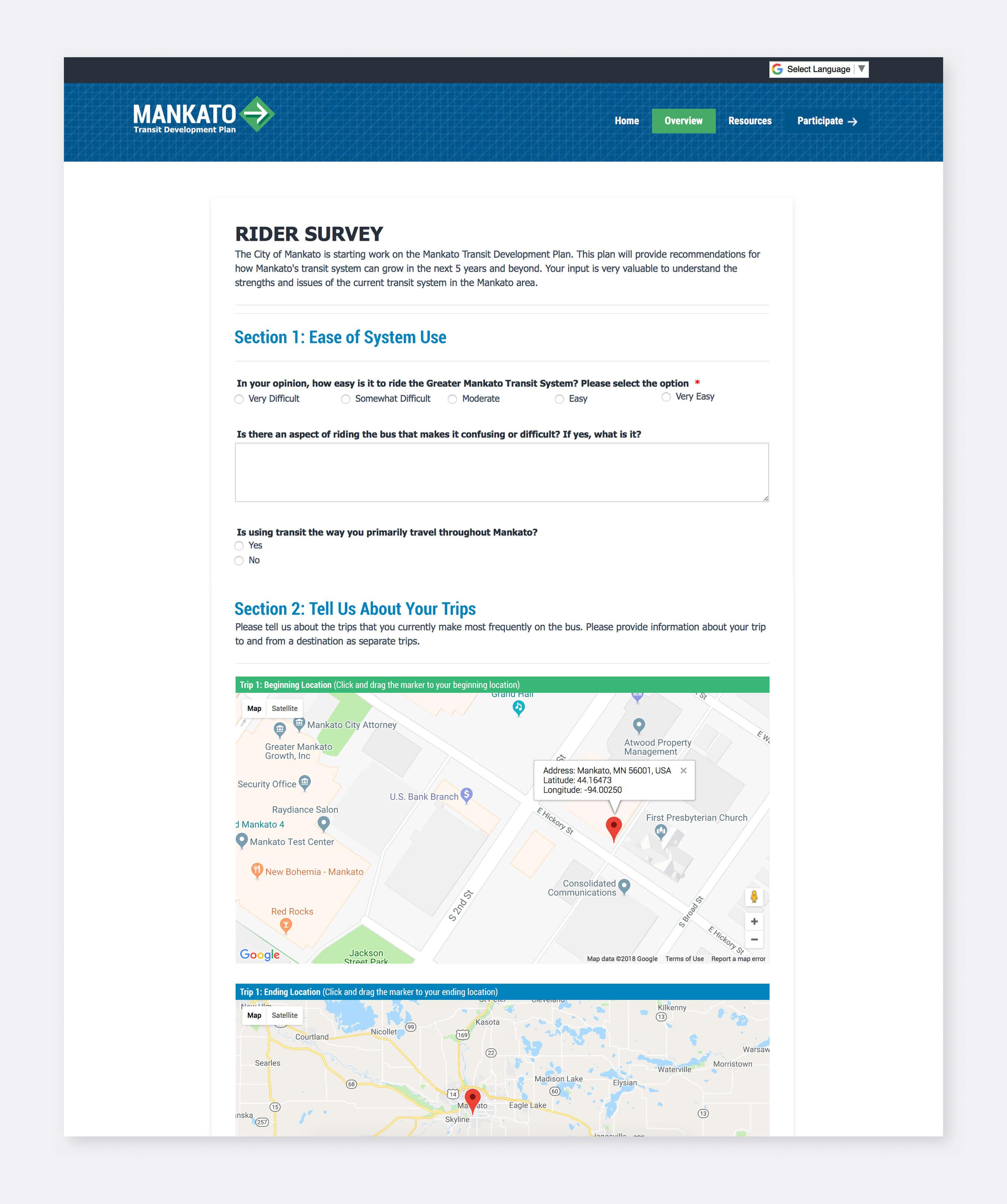 Screenshot of an interactive survey